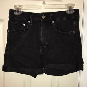 Black cuffed high waisted shorts