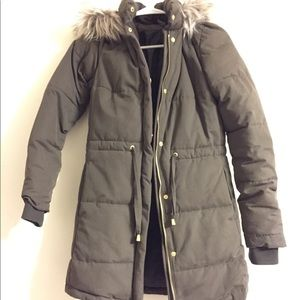 Charcoal Brown Puffer Coat