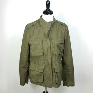 H&M Size 12 Army Green utility Jacket elbow patch