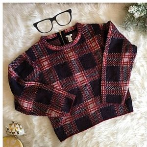 Red Navy Blue Plaid Sweater Boxy Oversized Fit