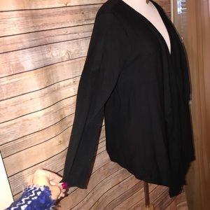 a.n.a Sweaters - a.n.a Black Draped Open Knit Cardigan