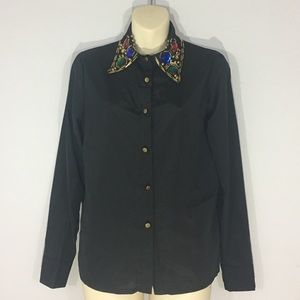Button up blouse w/ embellished collar
