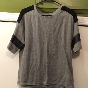 Black and Grey Tshirt with Pleather detail
