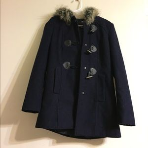 Navy blue buttoned Peacoat