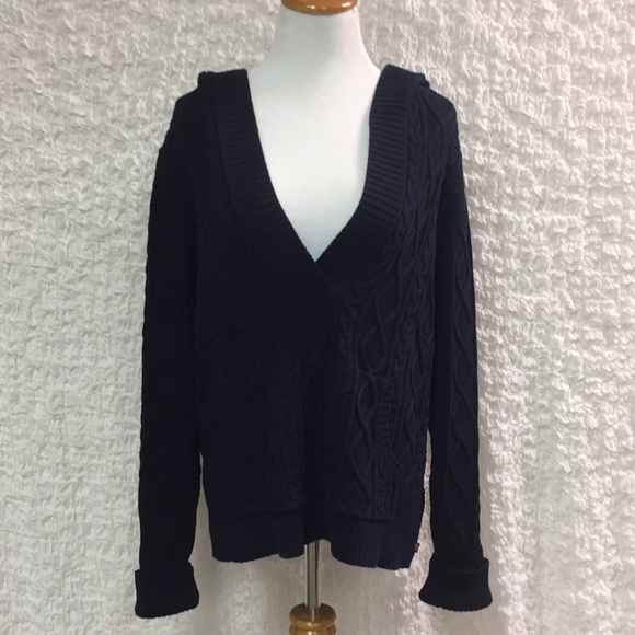 2d0f07d482 ... sweater blue hooded Cable Knit. M 5a14b4ef2ba50ac25200e391