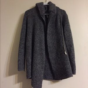 Asymmetrical sweater coat