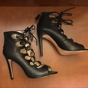 ZARA Black Laced-up Heels, Size 7
