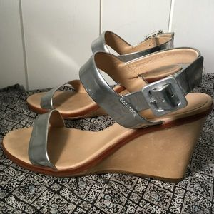 Kate Spade Silver Metallic Leather Wedge Sandal