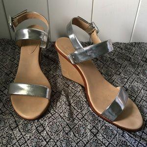 Kate Spade Silver Metallic Leather Wedge Sandal