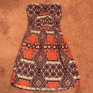 Aztec-Like Strapless Dress
