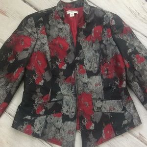 Coldwater Creek blazer jacket roses silver red NWT