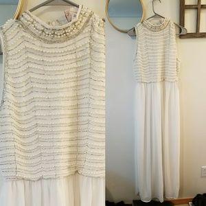 Long white pearl dress