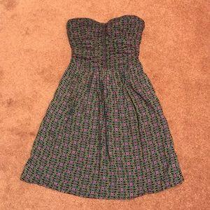 Flower Pattern Strapless Dress