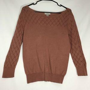 Ann Taylor Loft Boat Neck Brown Sweater Sz Small