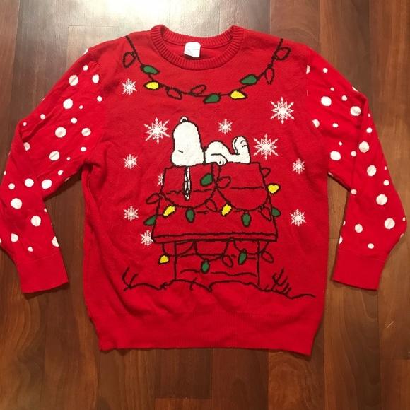 plus size red peanuts snoopy christmas sweater