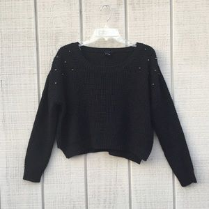 Rue 21 studded black cropped acrylic sweater, XL