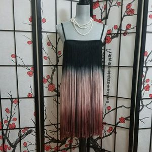 Fringe black and pink ombre party dress