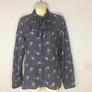 1980s tie neck blouse