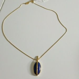 Pamela Love Brass & Lapis Stratum Pendant Necklace