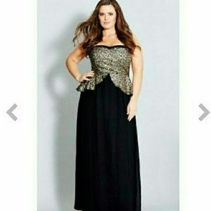 City Chic Sequin Peplum Maxi Dress NEW