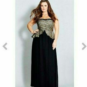City Chic Sequin Peplum Maxi Dress NEW