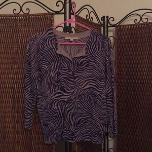 LOFT purple and gray print cardigan