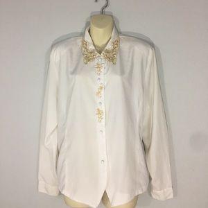 Button up blouse w/ gold details