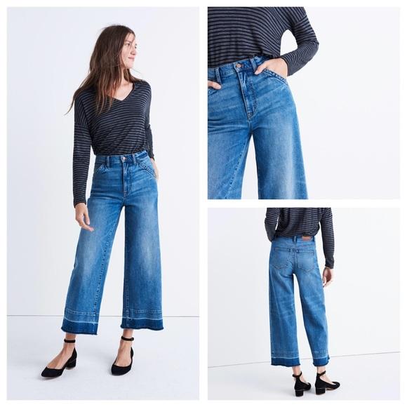 53c391c1b21cc Madewell Denim - Madewell Wide Leg Crop Jeans Drop Hem Edition