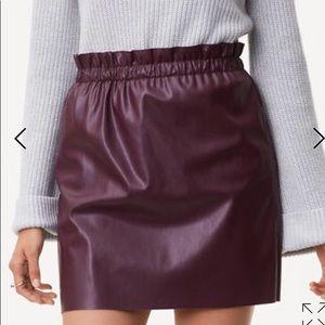 LOFT Faux Leather Skirt in Wine