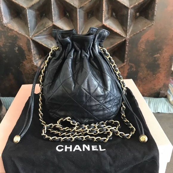 8eec8629d296 CHANEL Handbags - Mini vintage CHANEL drawstring bag- black lambskin