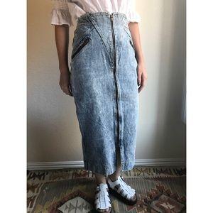 [vintage] 80s midi acid wash jean skirt