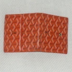 Square Vintage GOYARD Y Dark Orange Leather Wallet