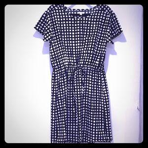 Statement draw-string patterned shirt dress