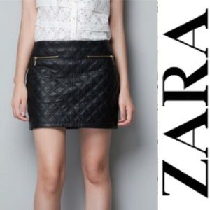 Zara Quilted Leather Skirt