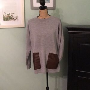 Gray J Crew sweater with leather pockets