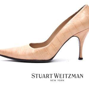 STUART WEITZMAN Croc Leather Pointed Toe Pumps