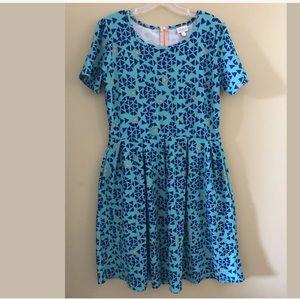 New LuLaRoe Teal & navy blue geo Amelia dress XL