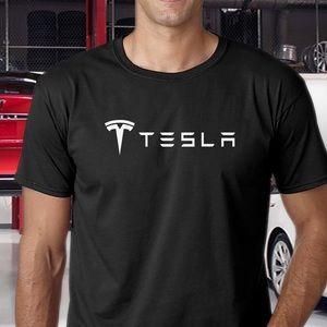 Tesla Black T-Shirt with White logo