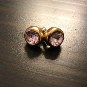 Banana Republic Purple Gold Jeweled Stud Earrings