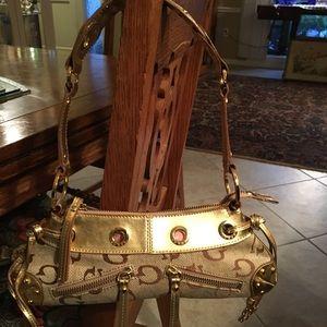 GUESS GOLD BROWN & TAN SMALL SHOULDER BAG BNWOT