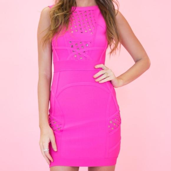 868ecf8dc8 Haute & Rebellious Dresses & Skirts - Fuchsia Bandage Body Con Dress Haute  & Rebellious