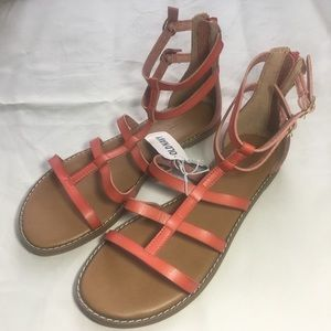 OLD NAVY   RED GLADIATOR FAUX LEATHER SANDALS