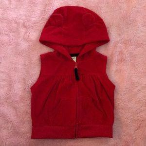 Red Baby Girl Zip-Up Hooded Vest