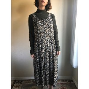 [vintage] 90s dark floral pinafore dress