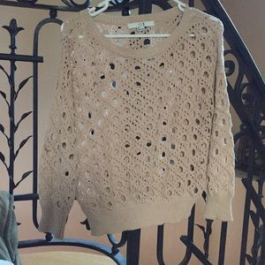 Forever 21 tan cutout knit sweater