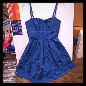 BCBG blue taffeta floral dress