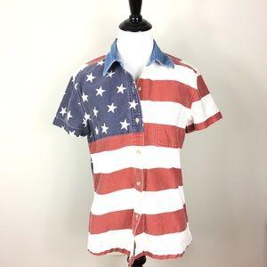 Vintage USA Flag Top Short Sleeve America M