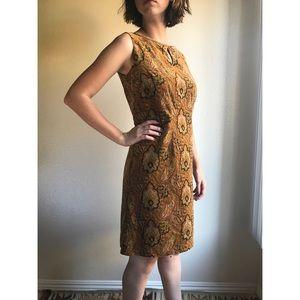 [vintage] velvet patterned high neck shift dress