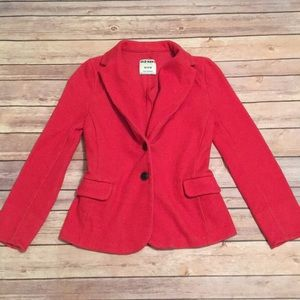 Red two button blazer with pockets