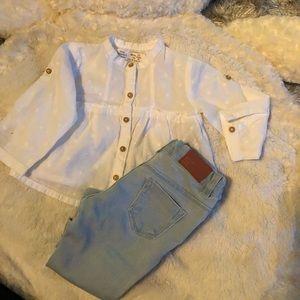 Baby Zara Denim + button shirt